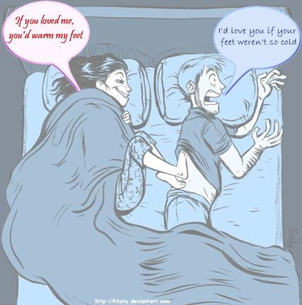 Cartoon - if you loved me you'd warm my feet/I'd love you if your feet weren't so cold