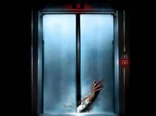 murder elevator with arm sticking out