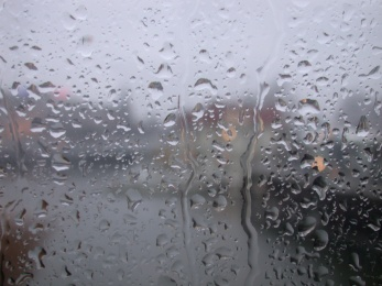 view through a rainy window