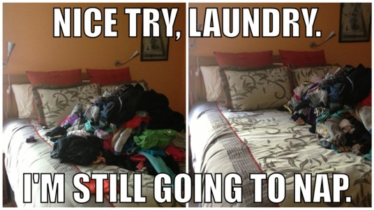 laundry pushed over to make room for napping