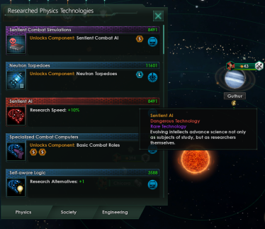 Stellaris screenshot sentient AI tech