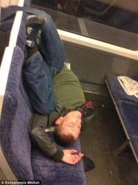sleep pretzel on train