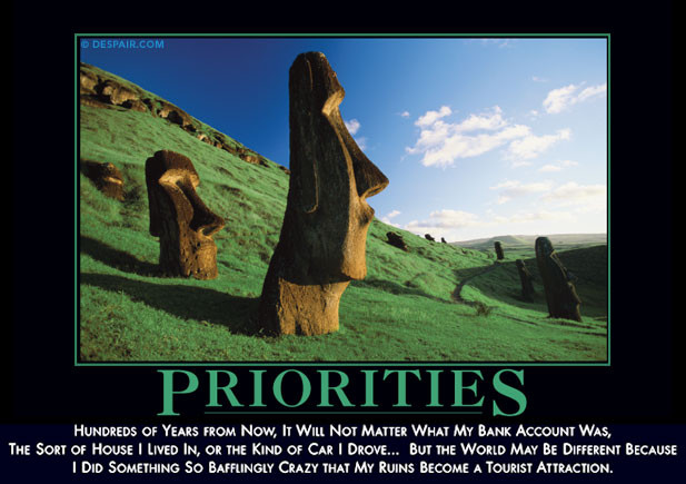 Priorities crazy motivational poster