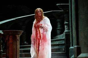 woman covered in blood
