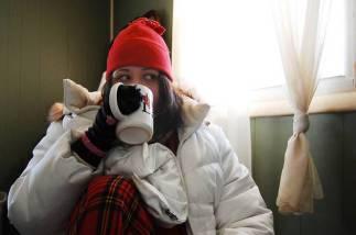 bundled up for cold inside