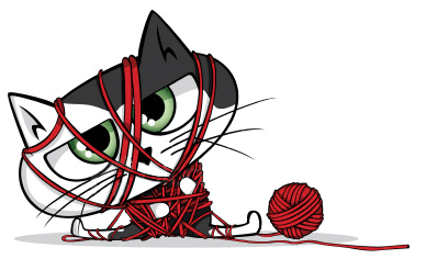 kitten trapped in yarn