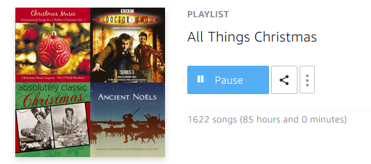 Screenshot of my Christmas playlist