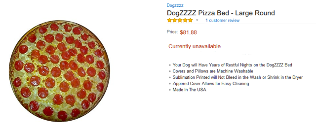 amazon.com pizza dog bed screenshot