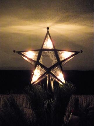 bronze and glass tree star