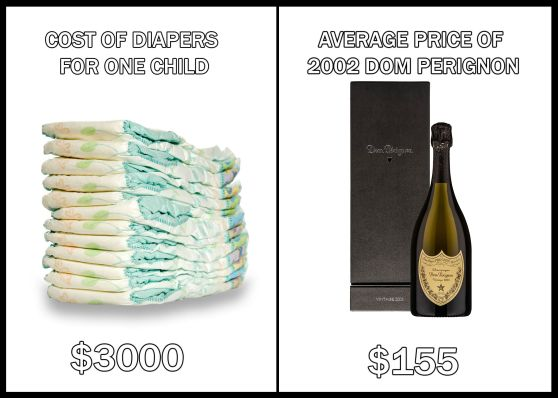 cost of diapers vs cost of champagne