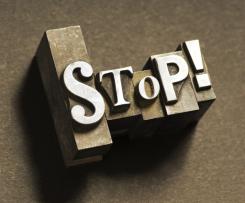 Typeset letter spell STOP!