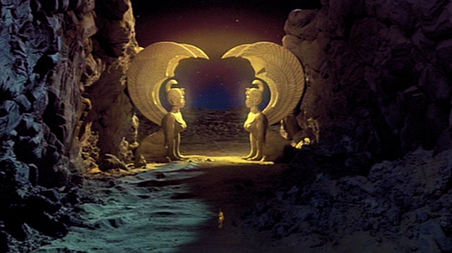 sphynx gate scene from Neverending Story (first gate of the Southern Oracle)