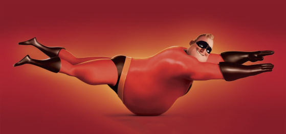 fat Mr Incredible doing Superman pose