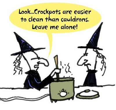 witch says her crock pot is easier to clean than a cauldron