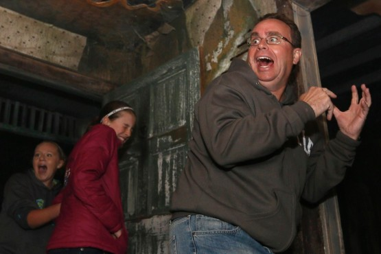 scare reaction at haunted house
