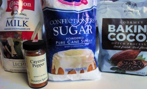 dry nonfat milk, confectioners sugar, baking cocoa, cayenne pepper