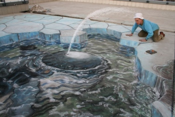 3D illusion sidewalk chalk art, whale peering through hole in cracked ice