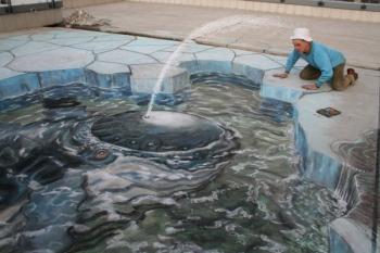 3D illusion sidewalk chalk art, whale peering through hole in cracked ice