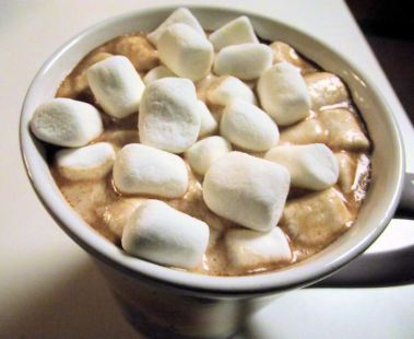 cocoa with mounds of mini marshmallows