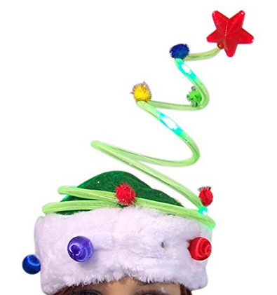 light-up christmas tree hat with pom-pom ornaments