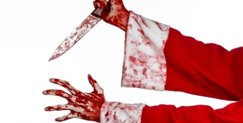 bloody hands/arms holding bloody knife, dressed in santa suit