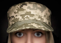 frightened woman in camo