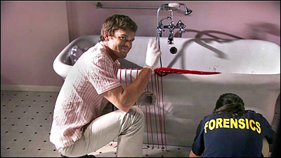 Dexter Morgan smiling and waving at bloody bathtub murder scene