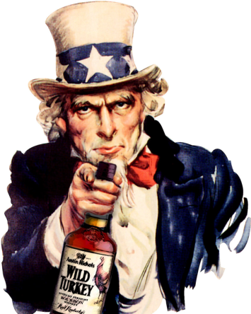 USA icon Uncle Sam holding a bottle of Wild Turkey