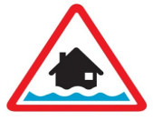 flood warning icon (house silhouette inside red triangle with rising water)