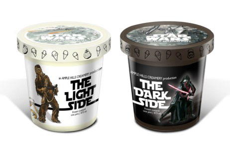 star wars ice cream flavors; pint of The Light Side and pint of The Dark Side
