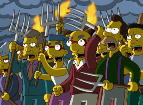 (The Simpsons) angry torch-and-pitchfork mob
