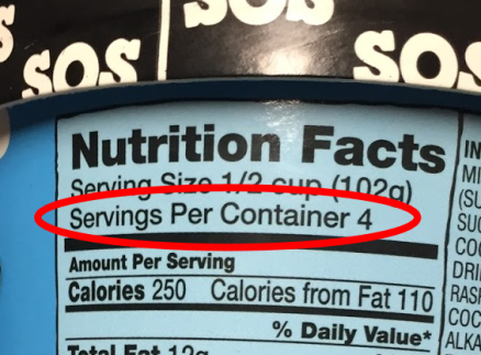 closeup of Ben & Jerry's label with serving size info circled (servings per container: 4)