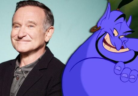Robin Williams and his animated Disney character, the Genie, smile back to back
