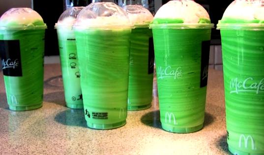 six McDonald's shamrock shakes