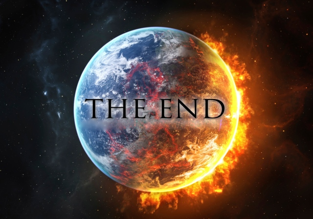 "planet burning; text overlay reads, ""THE END"""
