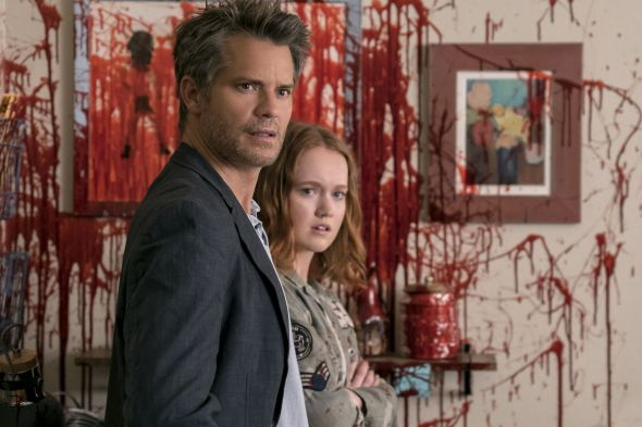(Santa Clarita Diet) Joel and Abby are alarmed at the bloody mess in their kitchen