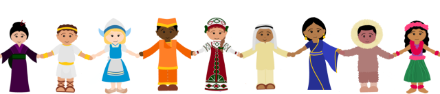 clipart of costumed multicultural children from Disney's Small World ride