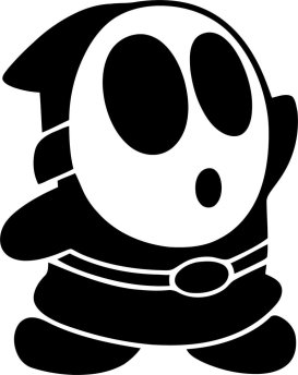 "black-and-white ""shy guy"" from Super Mario Bros. games"