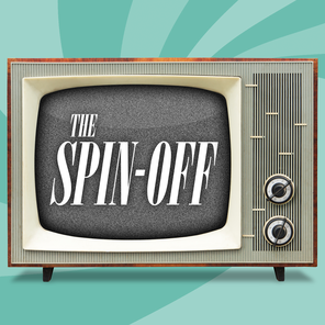 "mid-century console tv displays ""The Spin-off"""