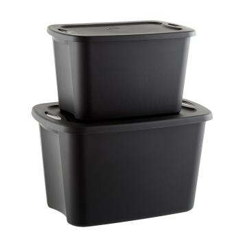 two large plastic storage totes, black, stacked vertically