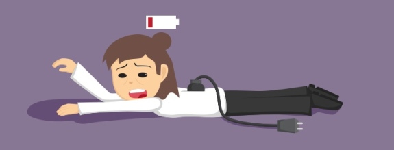 exhausted woman is unplugged, with low battery symbol over her head