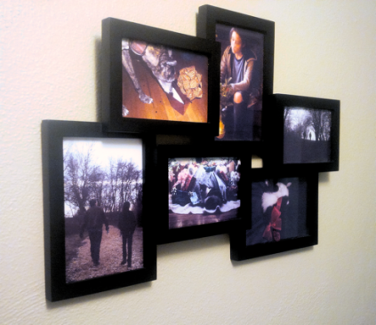 Collage frame filled with family photos, hanging on wall