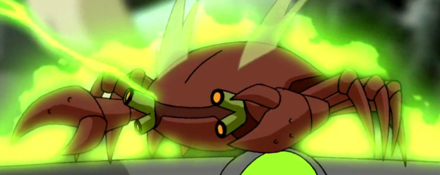 Glowing, radioactive cartoon crab with laser cannons for eyes
