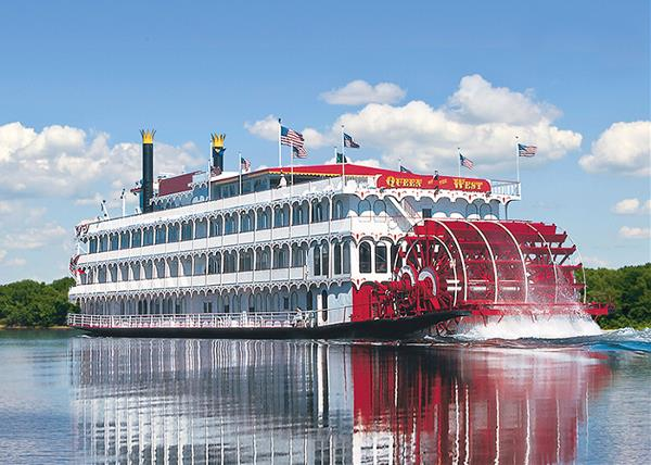 "Riverboat ""Queen of the West"" glides up the Mississippi toward St Louis"