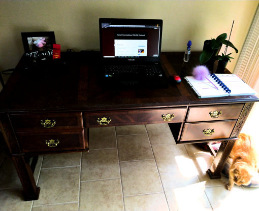 Antiquey wooden desk with laptop, thriving (but not blooming) orchids, planner, etc. and one miniature lion trying to steal the frame