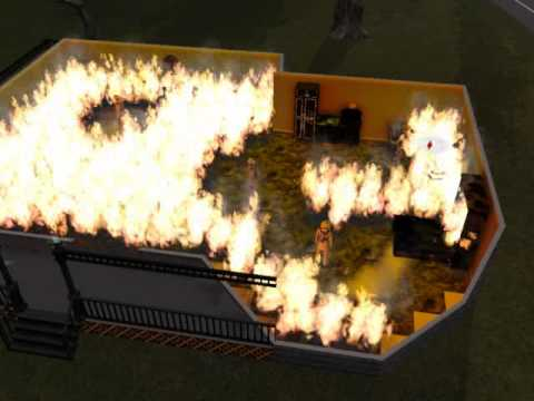 Still from The Sims game, house with no doors or windows filled with fire; sim inside will die.