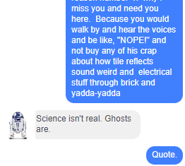 "Screenshot of Messenger conversation; I complain about ghost stuff and how Husband doesn't believe but Audrey would, Audrey replies, ""Science isn't real. Ghosts are."""
