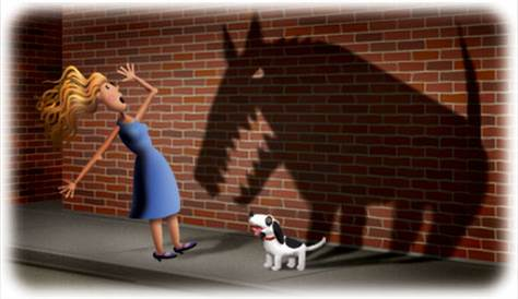 woman is afraid of small, friendly dog; dog's shadow is that of large, snarling beast