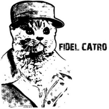 "line drawing of cat dressed as Fidel Castro, labeled ""Fidel Catro"""