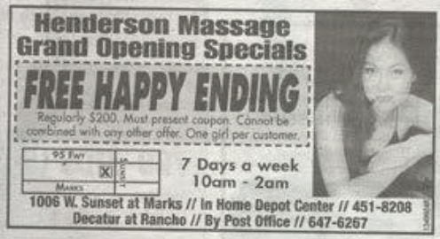 "coupon for ""free happy ending"" massage features photo of beautiful woman"